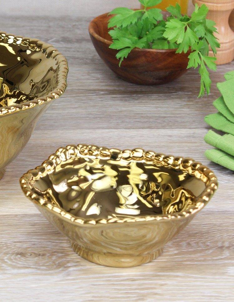 Porcelain Small Salad Bowl- Gold