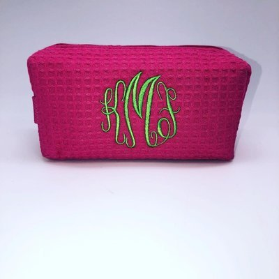 Hot Pink Large Waffle Weave Cosmetic Bag