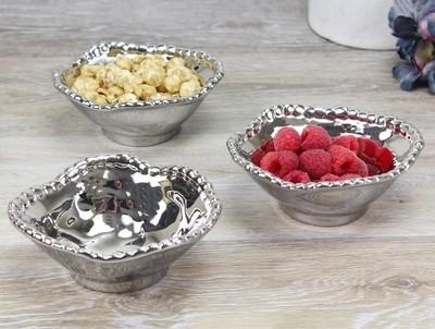 Porcelain Snack Bowl-Silver