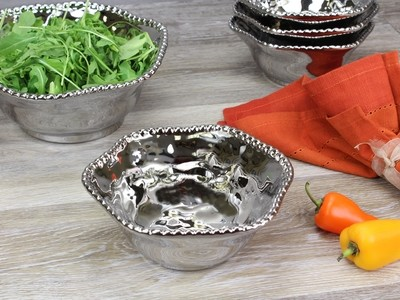 Porcelain Medium Bowl- Silver