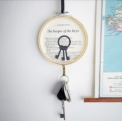 Keeper of the Keys, Key Hook; made from an original page of Harry Potter and the Philosophers Stone