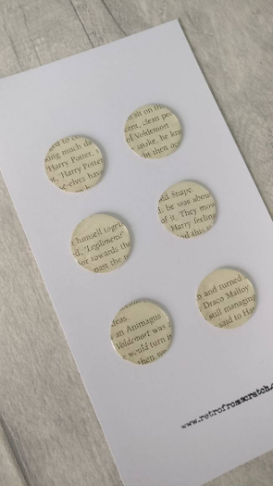 Six Harry Potter Magnets made from original book pages