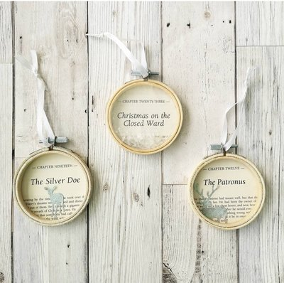Harry Potter Christmas Decorations made from original book pages