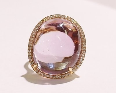 18ct rose gold amethyst and diamond ring
