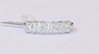 Princess cut diamond five stone ring