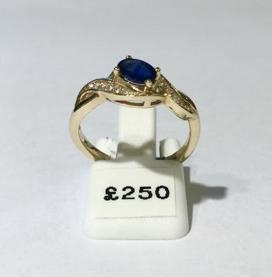 9ct sapphire and diamond dress ring