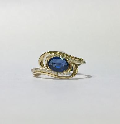 9ct yellow gold sapphire and diamond ring