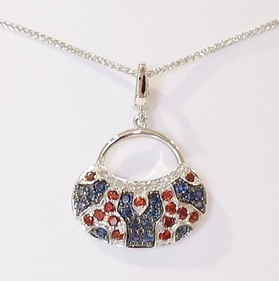 9ct white gold sapphire, garnet and diamond pendant