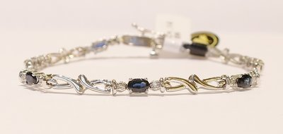 9ct white gold sapphire and diamond bracelet