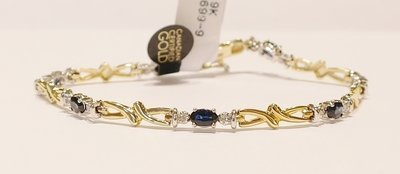 9ct yellow gold sapphire and diamond bracelet