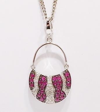 9ct white gold handbag pendant and chain