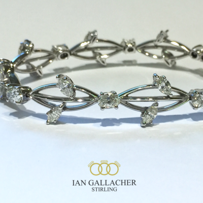 18ct white gold marquise and oval diamond bracelet