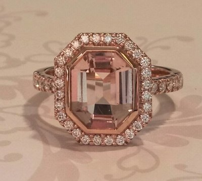 18ct rose gold morganite and diamond ring