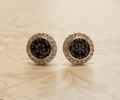 18ct white gold black/white diamond earrings