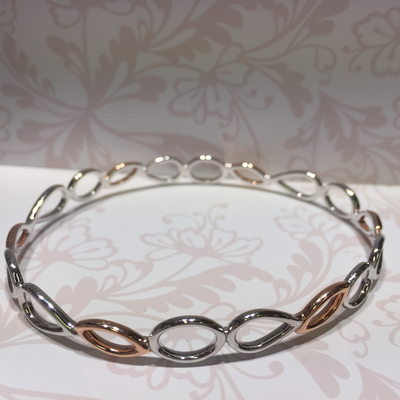 Silver and rose gold plated bangle