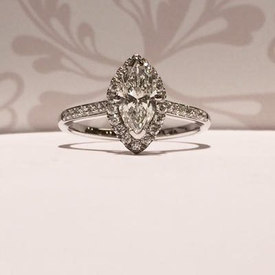 18ct white gold diamond marquise cut diamond cluster style  ring