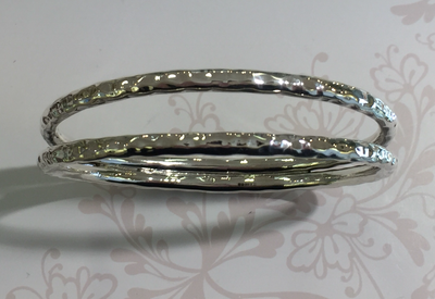 Silver double hooped bangle