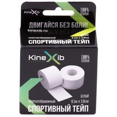 Спортивный тейп KineXib, 3,8 см х 9,1 м, белый