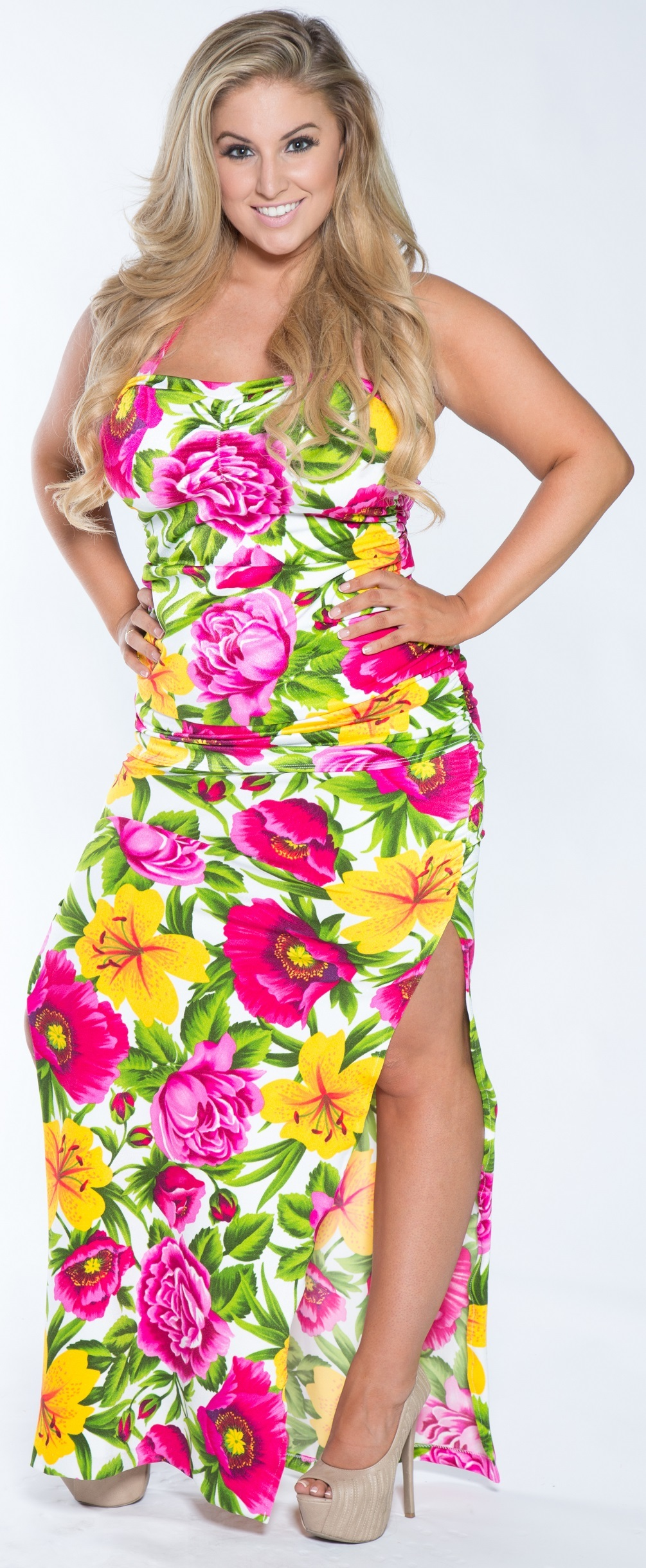 Plus size Hawaiian Print Retro Tankini with Long Beach Skirt
