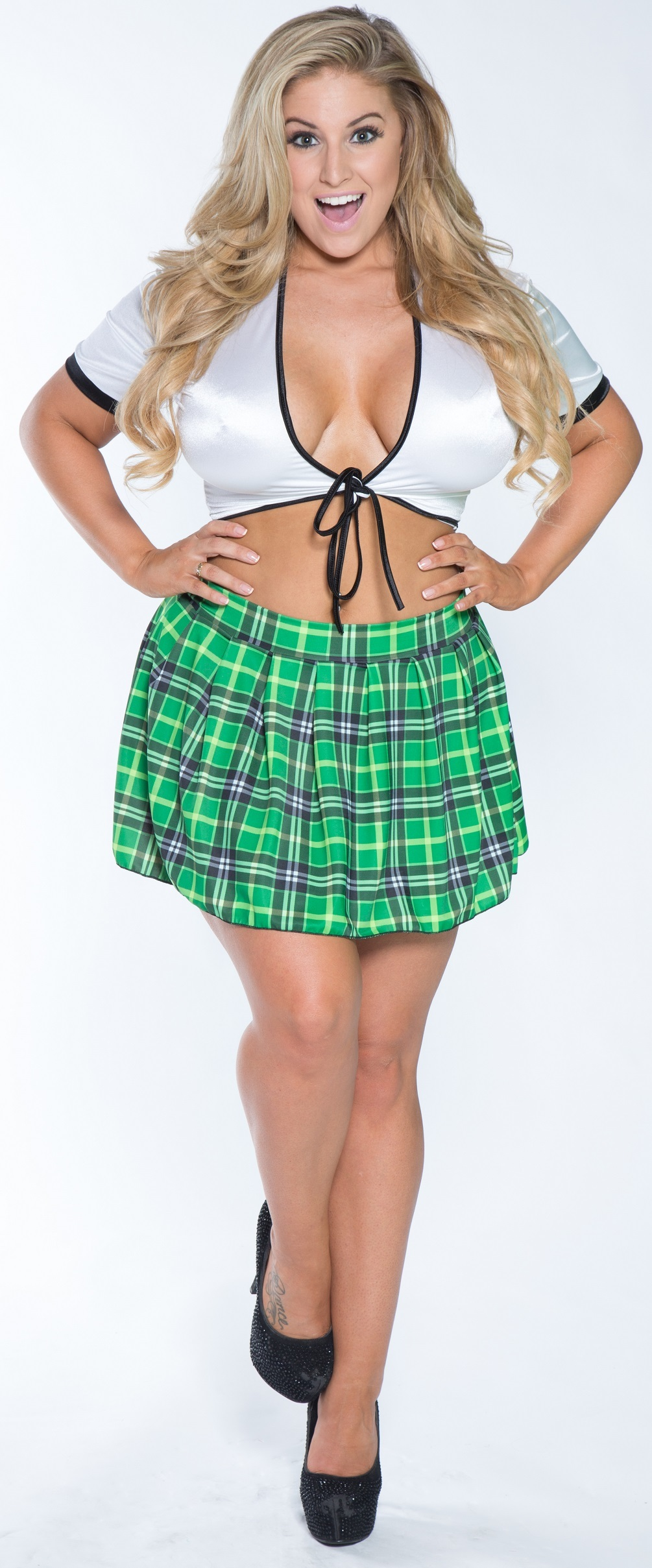 Plus Size Catholic School Girl Costume Green Plaid  Plus Size School -4143