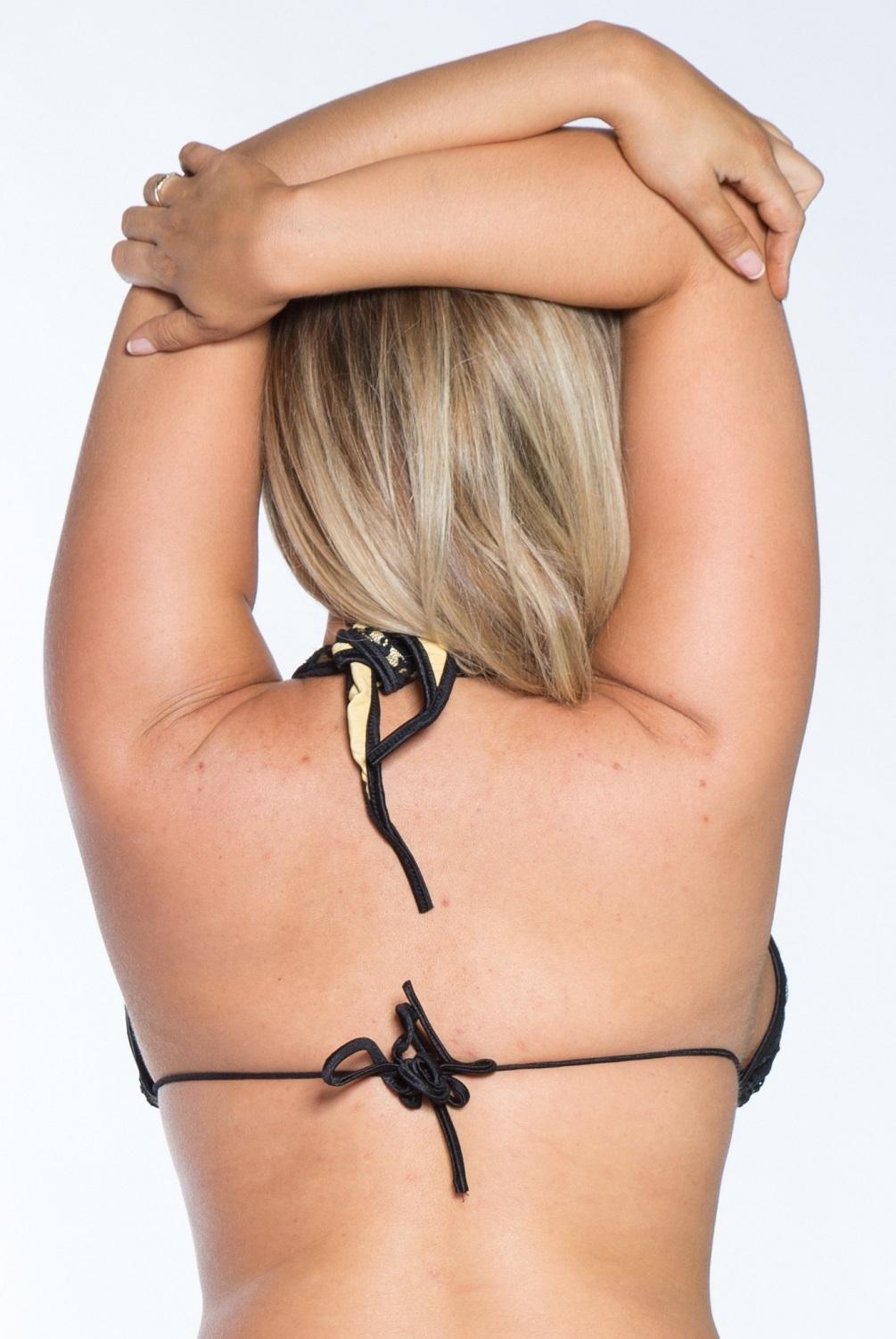 43202e79b331c Plus size Full coverage Halter Bikini Top Gold w Black Lace 1X Clearance