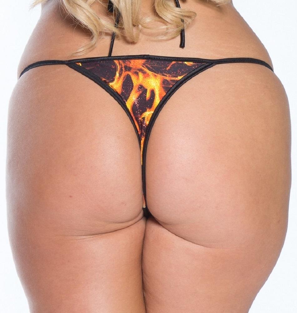 78e1ded9231a1 Plus size Thong Bikini w Larger Cut Tri Top Orange Tornado