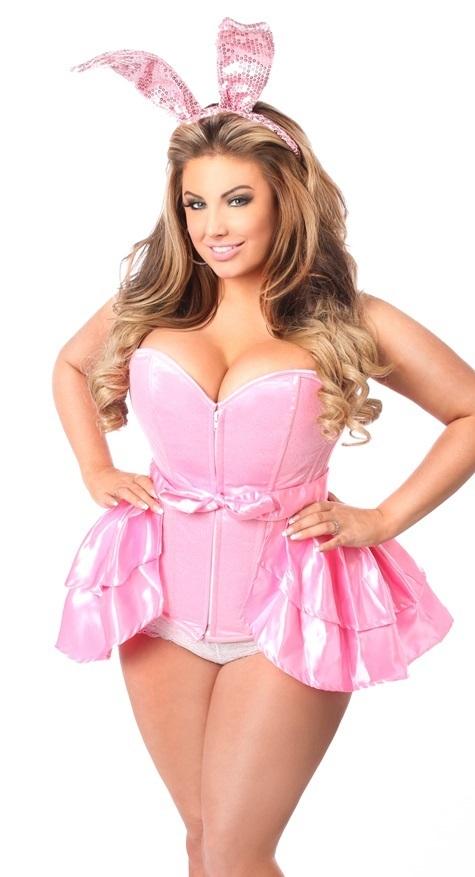 2557d1c1dc Plus Size Pink Bunny Costume Satin Corset Wrap Skirt