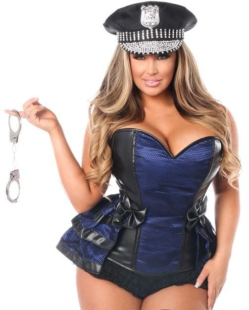 sc 1 st  Ladystrange Lingerie & Plus Size faux leather Corset Cop Costume Rhinestone Cuffs Hat