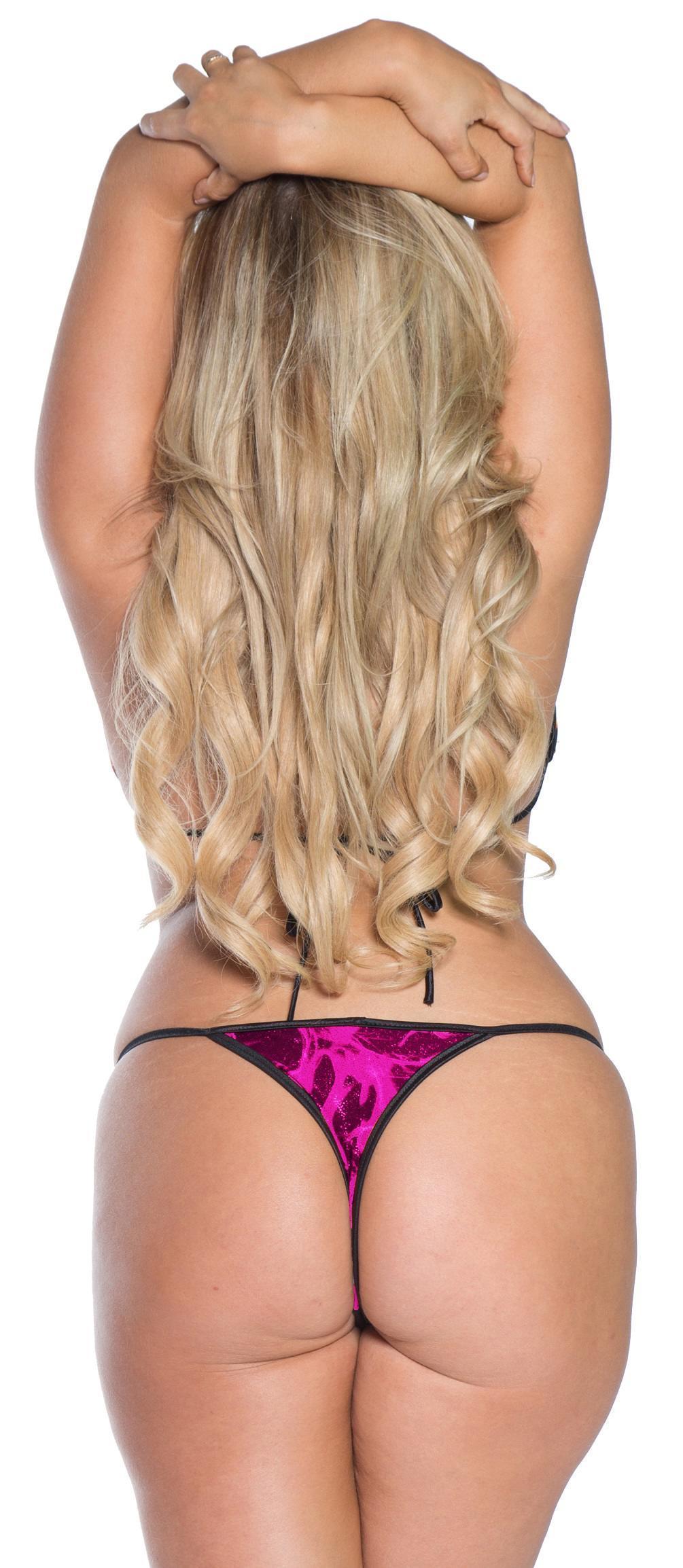 plus size thong bikini w larger cut tri top pink tornado 3x only