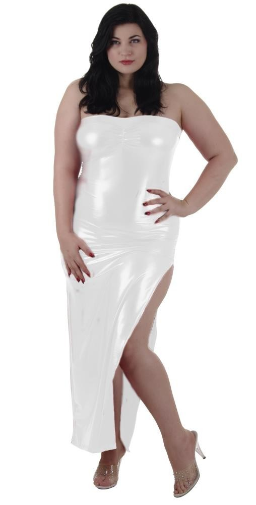 Plus size Tube Dress gown Bust Gather White Lame\' Foil