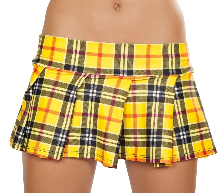 f7c467112 Yellow Pleated Plaid School girl micro mini Skirt