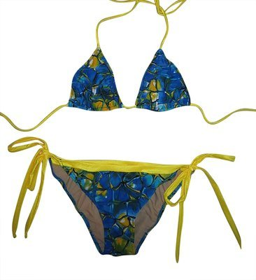 d918a503d3 Plus size American Cut 2 Piece Bikini with tie sides Blue Tortoise Yellow  Lined 1x Clearance