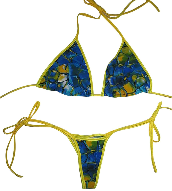 d9ee286ceb Plus size Tie Side Thong Bikini w Larger Cut Tri Top Blue Tortoise Yellow