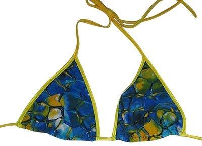 19482a62bf Plus size Larger Cut Triangle Bikini Top Blue Tortoise Yellow 1x Clearance