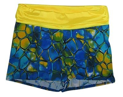 9ab4d03f6c Plus size tie Roll over yoga Short Blue Tortoise Yellow Large Clearance