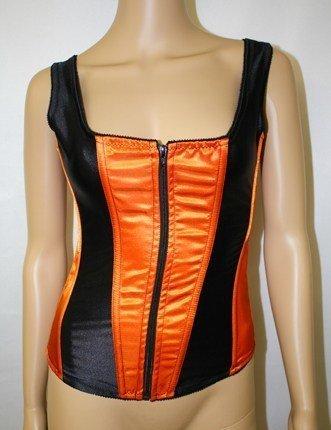 5466499ad6ba Empire Intimates 7916 Strapped zipper Satin corset Orange Black