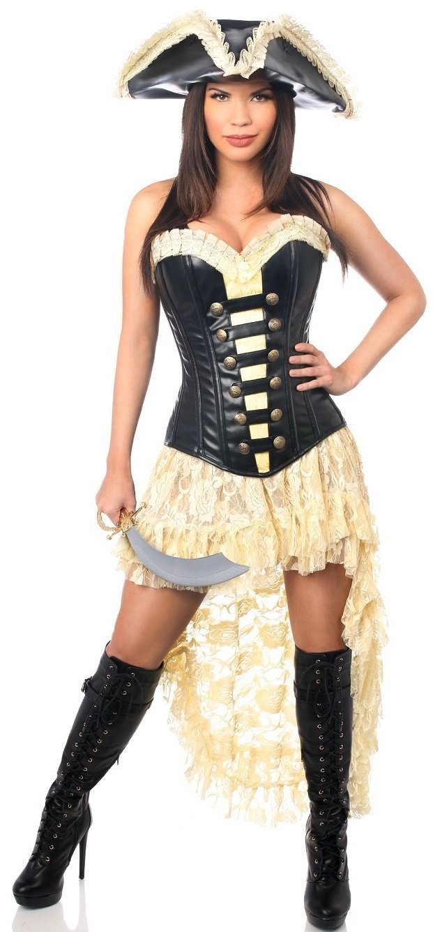3451ec23129 4 PC Faux Leather Pirate Wench Corset Costume