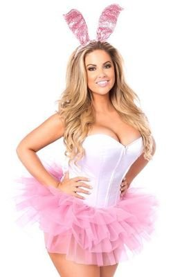 a915c52eeb3 Plus Size Flirty Bunny Corset Costume White with Pink Tutu