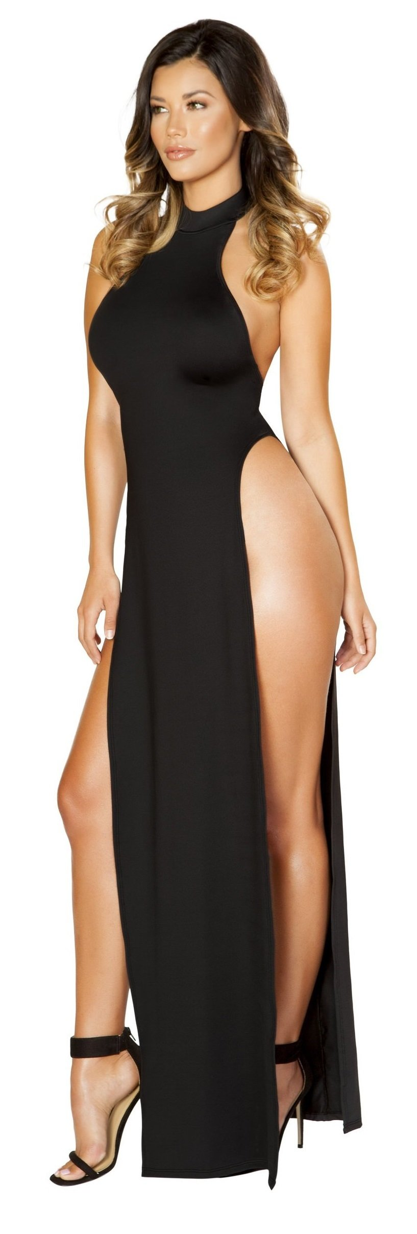 Maxi Length Halter Neck Dress with High Slits 3529-Blk
