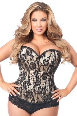 Black Rose Lace Overlay Tan Plus size Strapless Corset 00afeafb26ce