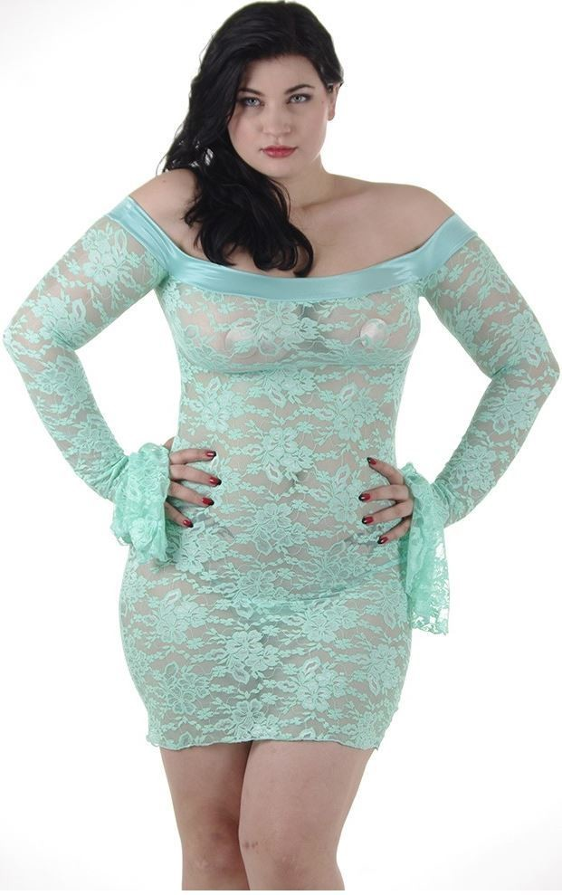 Plus size Lace Chemise Sheer Dress Mint