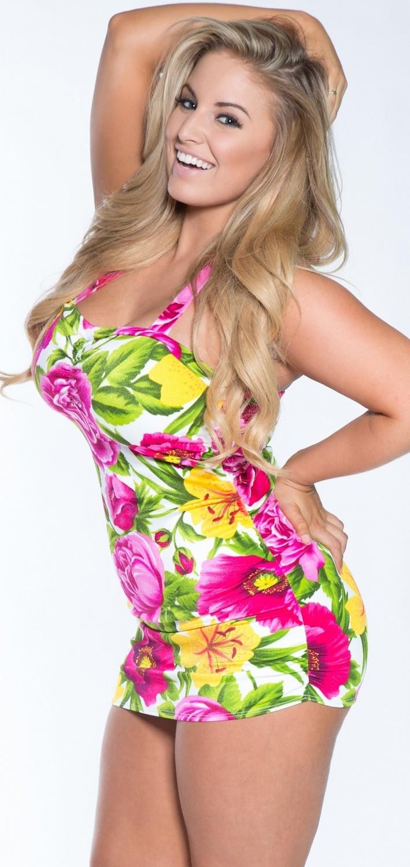 Plus size Hawaiian Print Retro Tankini Swim Dress