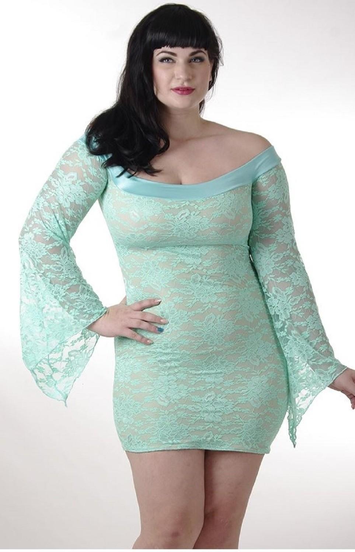 Plus size Lace off Shoulder Dress Mint Green