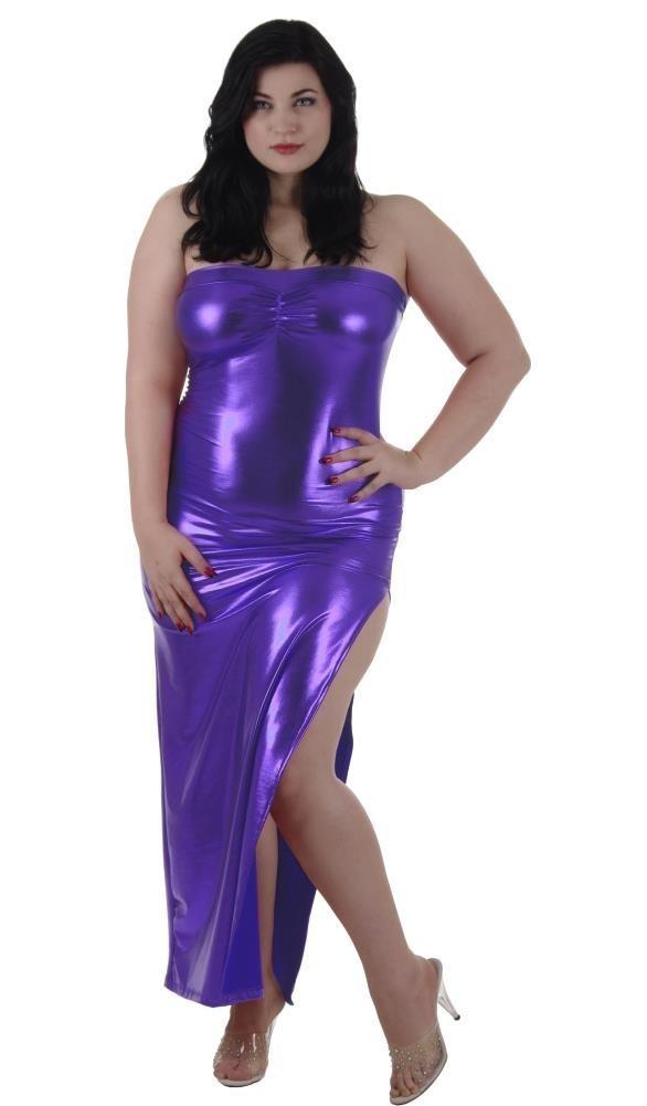 Plus size Tube Dress gown Bust Gather Purple Lame\' Foil
