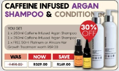Caffeine Infused Argan Shampoo, Conditioner