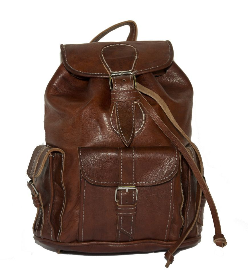 69c7c4d97 Small Brown Leather Rucksack, 80's Festival Style