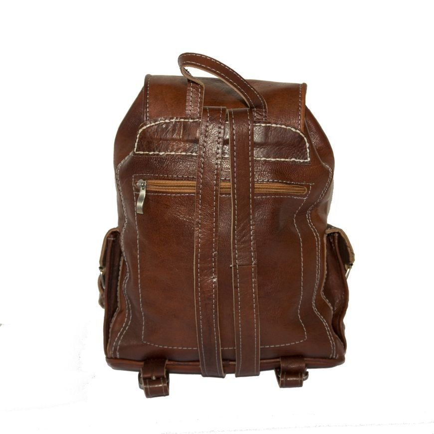 7afcac5ff Small Brown Leather Rucksack 80's Festival Style