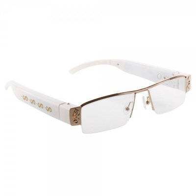 5MP Spy Camera DVR 720P HD Ultra-thin Glasses camera Hidden Eyewear White
