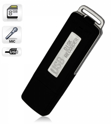 8GB Keychains Digital Voice Recorder USB Flash Drive UR-08 Black TM86030241