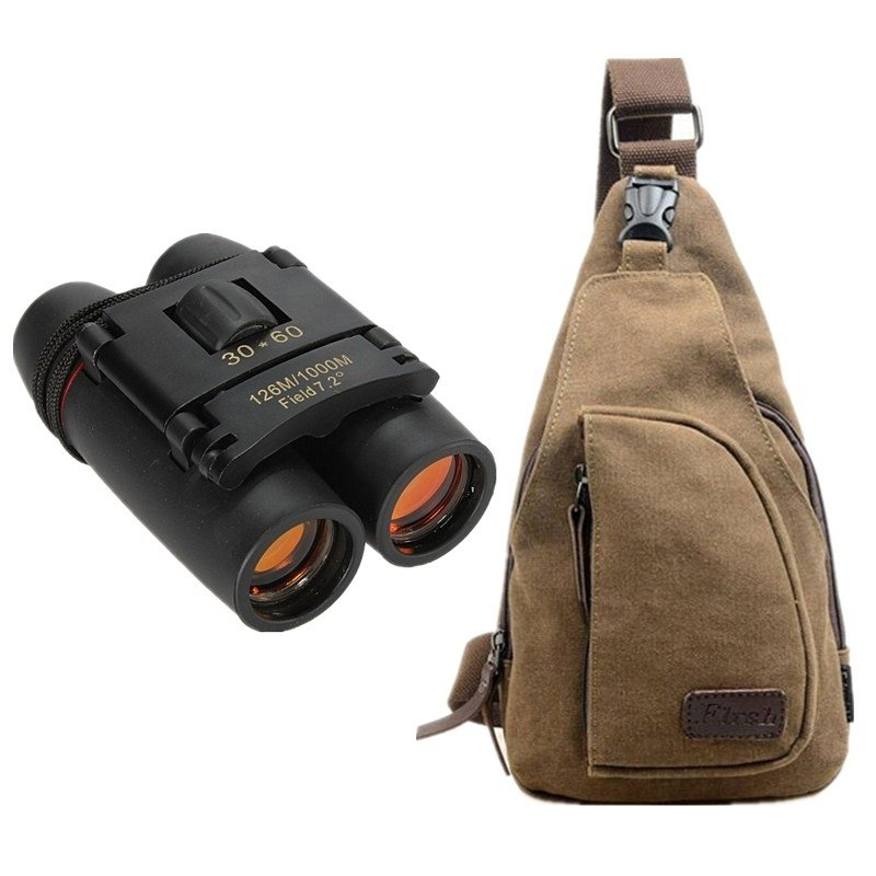 Canvas Sling Bag - Khaki & 30 x 60 Compact Folding Night Vision Binoculars TMBD106561